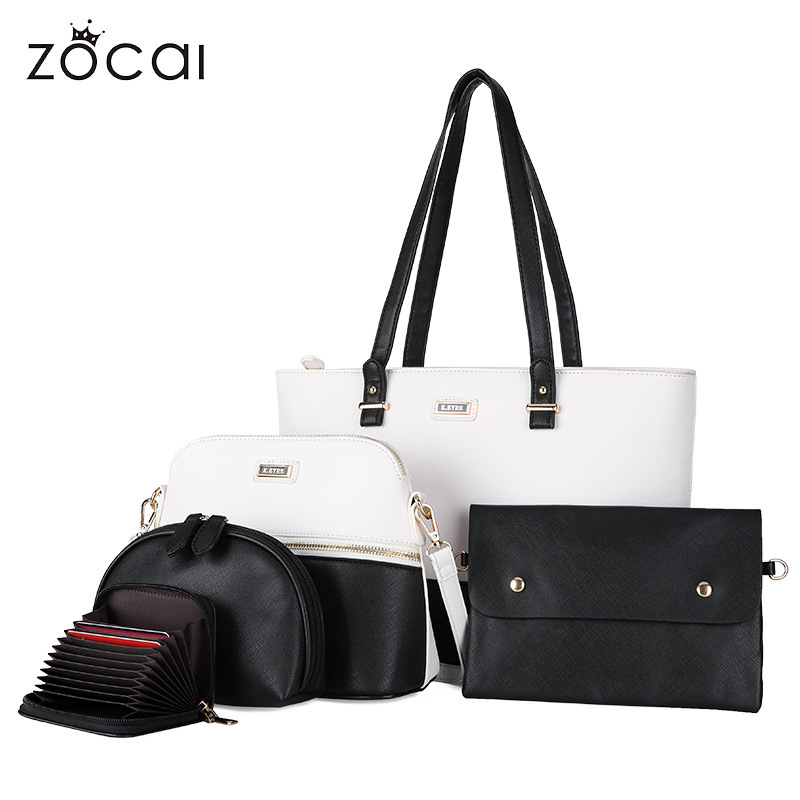 Casual 5-Piece Black and White Rianne Tote Bag for Keeping Things Organize