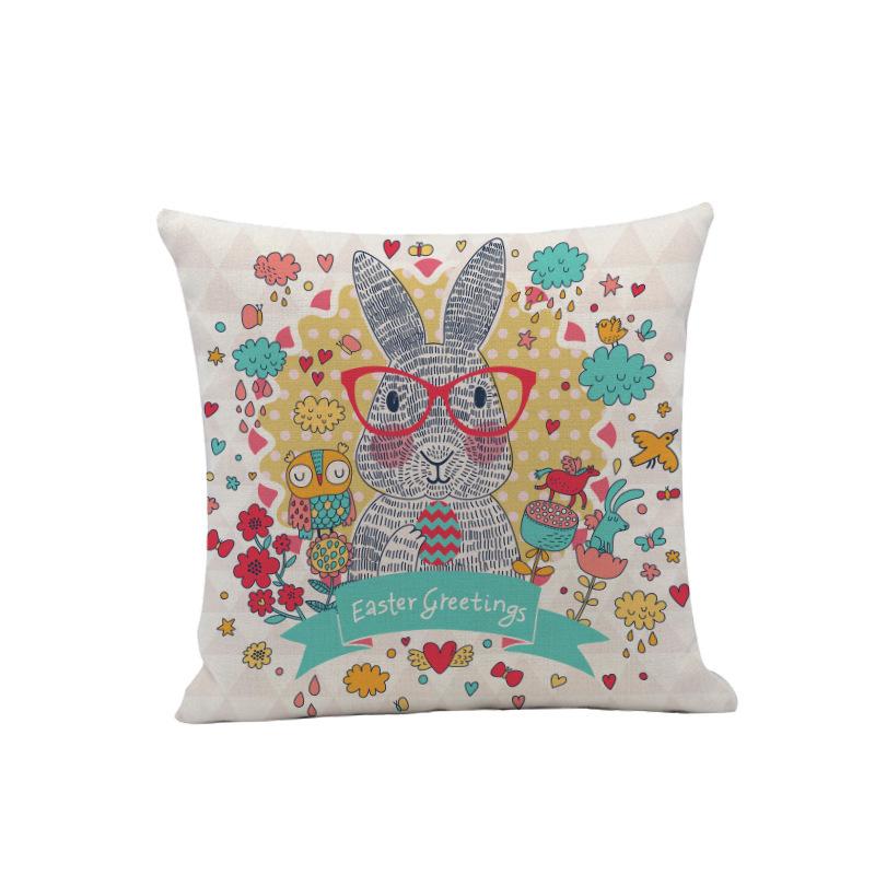 Easter Rabbit Linen Pillowcase for Easter Sunday