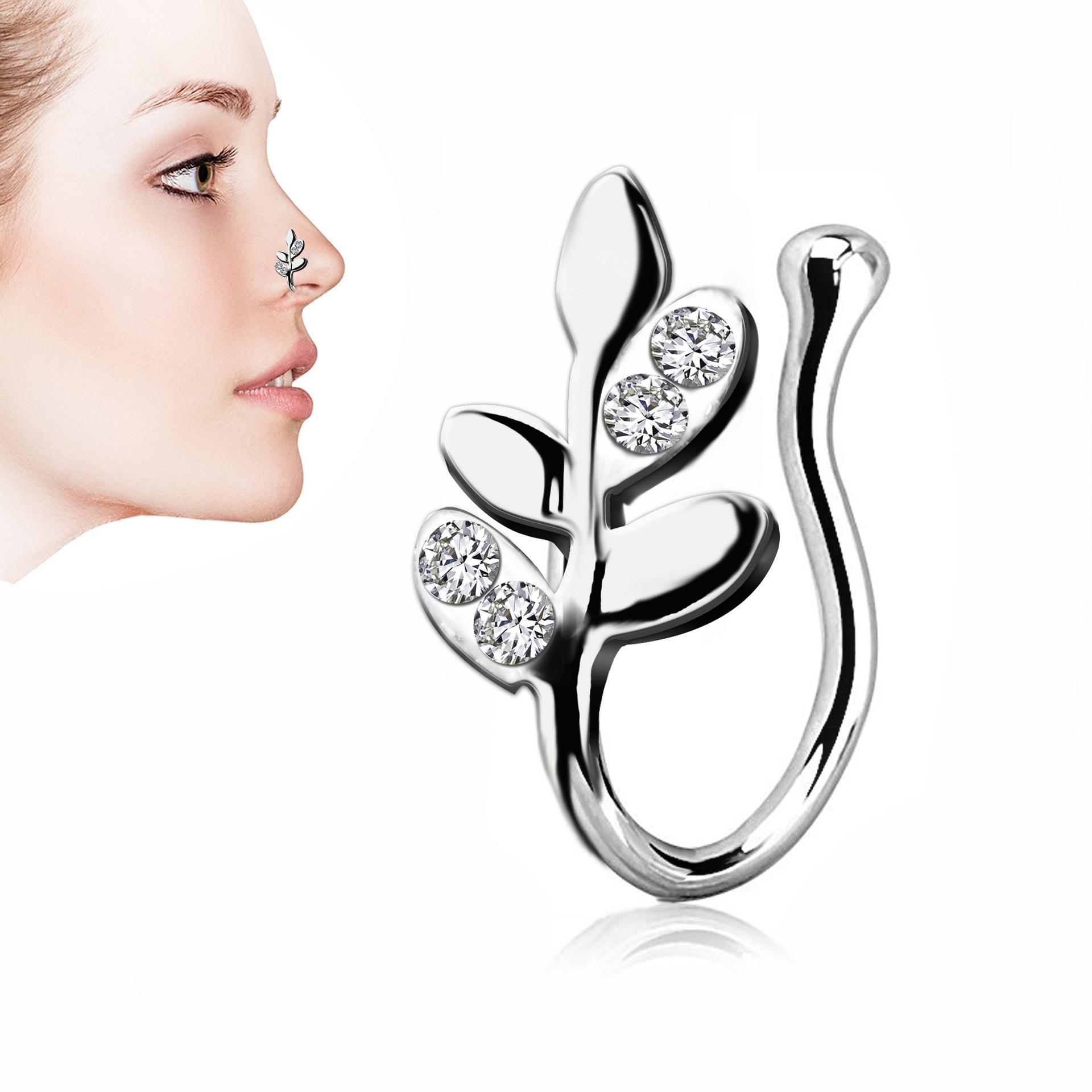 Elegant Decorative Leaf Nose Ring for Fashionable Ensembles