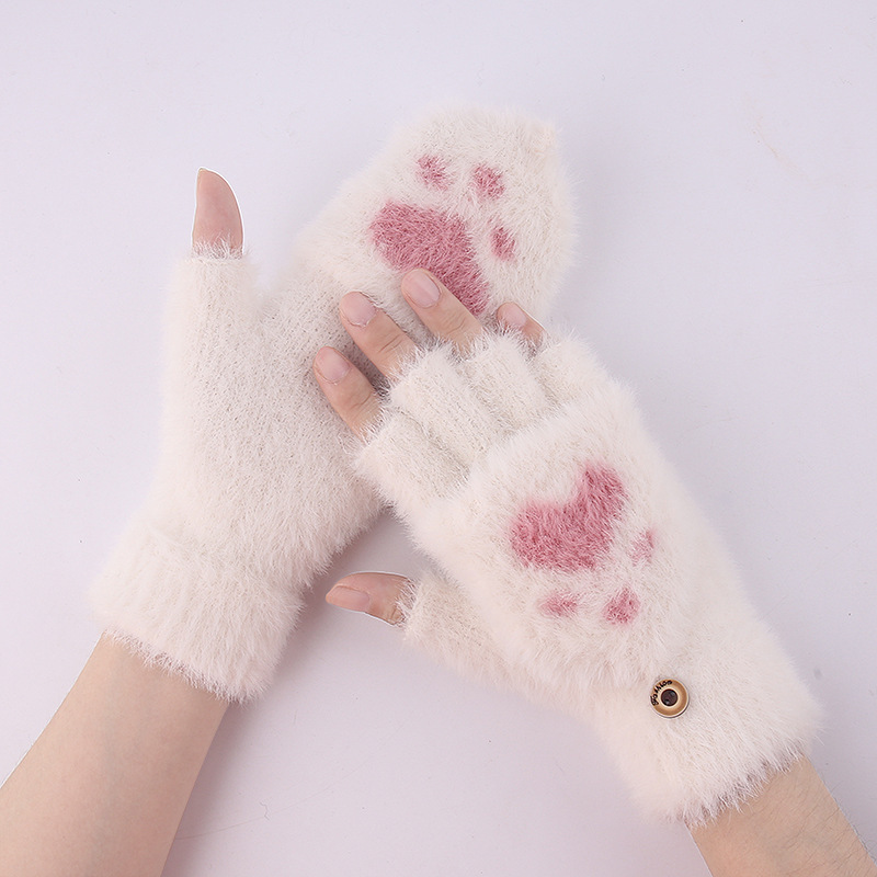 Cute Furry Convertible Gloves for Keeping Hands Warm