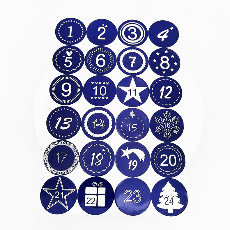 Charming Christmas Countdown Stickers (24 Pieces) for Lovely Gift Collection
