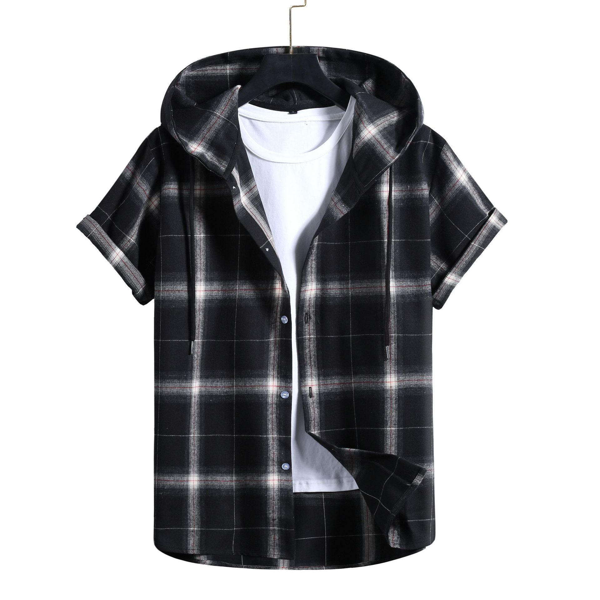New Short Sleeved Stripe  and Plaid  Hooded Jacket for Men