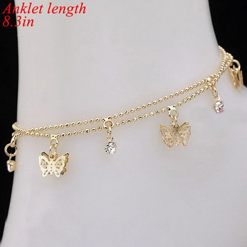 Elegant Double Layer Anklet with Butterfly Details for Summer