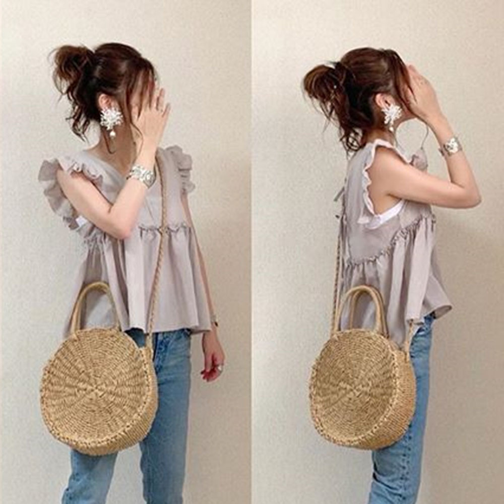 Bali-Inspired Round Brown Bags for Summer Casual Everyday Bag
