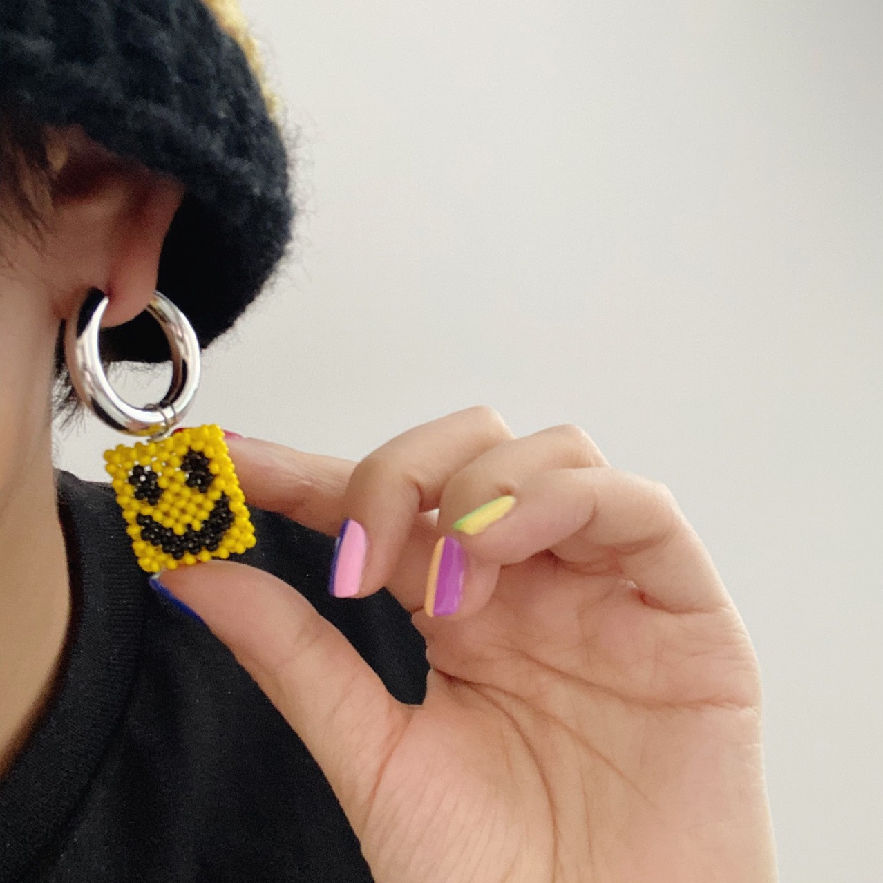Trendy Yellow Beaded Single Earring with Black Smiley for Nights Out with Friends