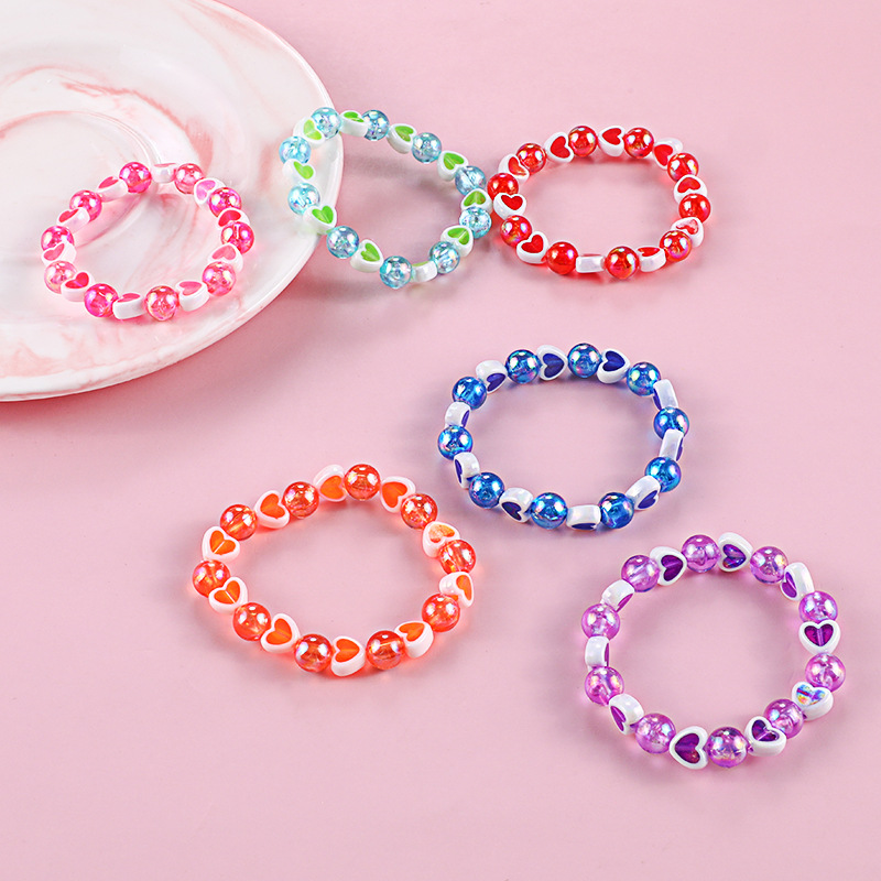 Vivid Hue Heart and Pearl Beads Bracelets for Adorable Outfits