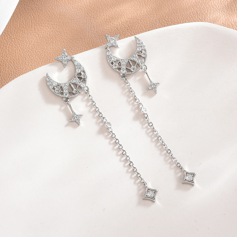Elegant S925 Silver Moon Earrings with Chain Tassel for Matching Luxurious Outfits
