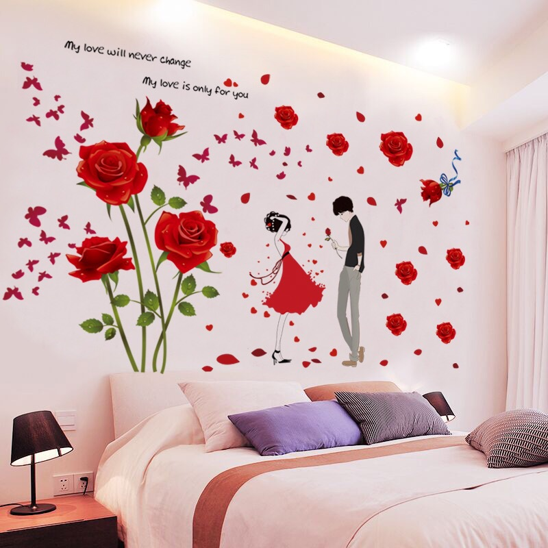 Beautiful Floral Wall Stickers for Women's Bedroom Backgrounds