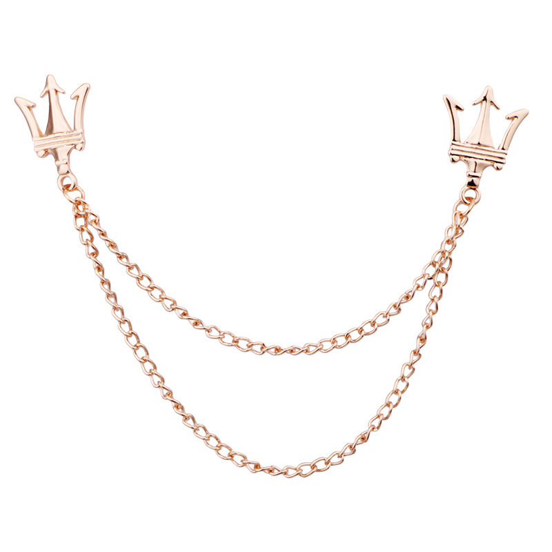 Fine Two-Layered Crown Alloy Brooch Pin for Attaching to Collars