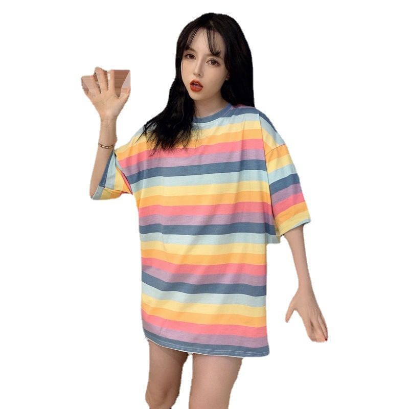 Fashionable Cotton Candy Colored Stripes T-Shirt Dress for Casual Day Time Looks