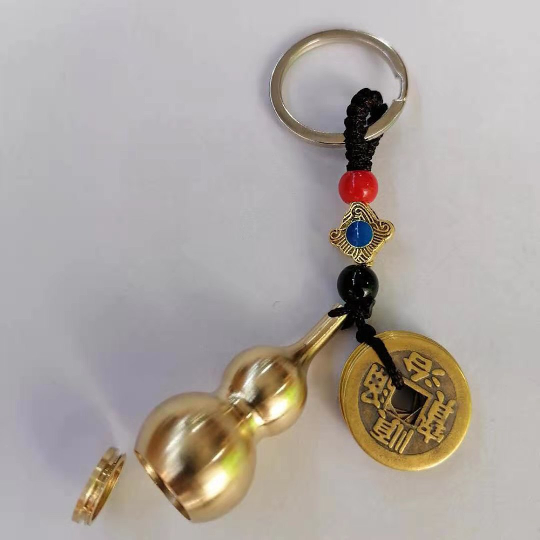 Cute Gourd and Coin Keychain for Good Luck Charm