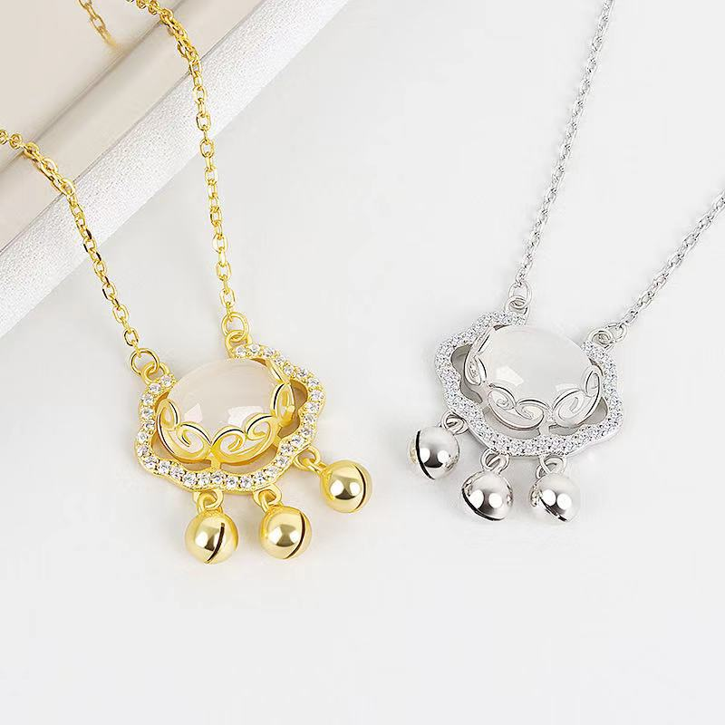 Elegant Triple-Bell Chain Necklace for Holiday Gift