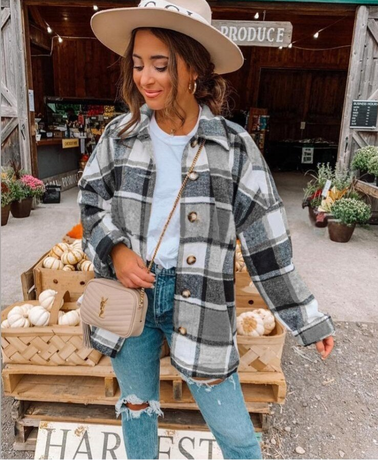 Stylish Flannel Plaid Button-Up Overshirt for Cute Fall Fashion