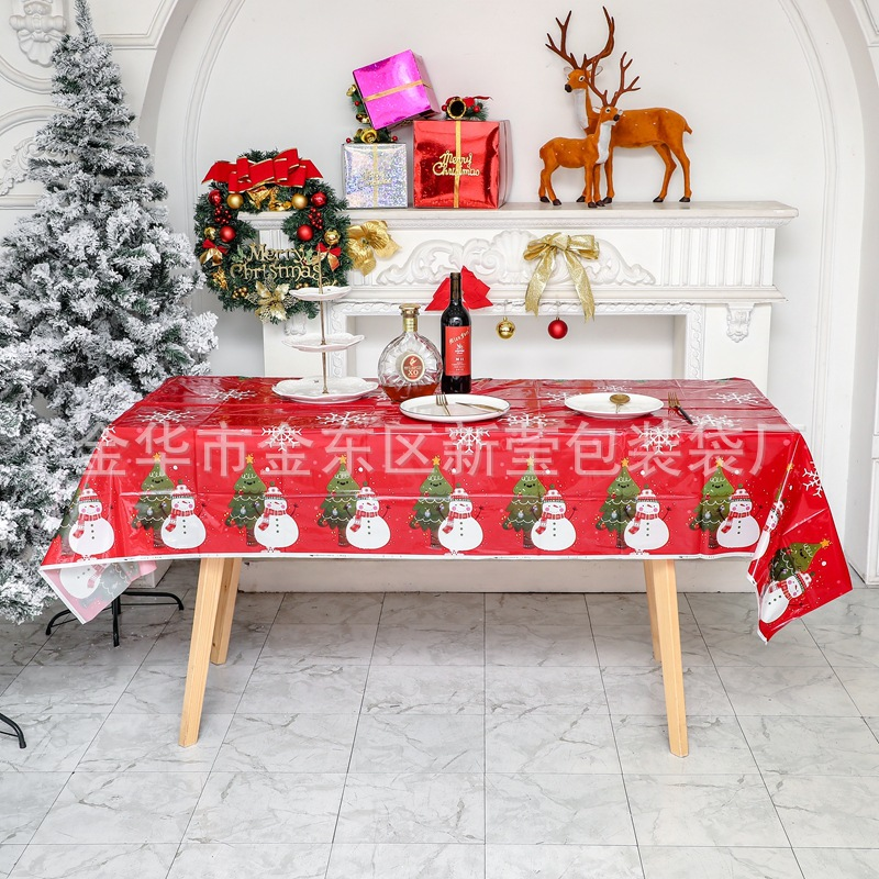 Disposable Red Christmas Tablecloth for Kids Christmas Party