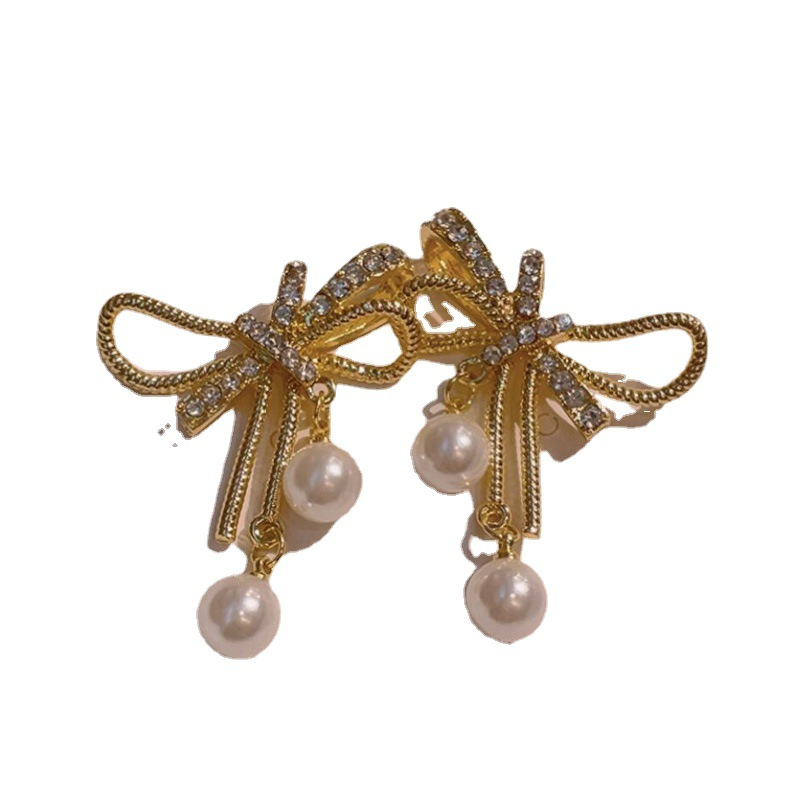 Faux Gold and Pearl Bow Alloy Earrings for Cute Looks