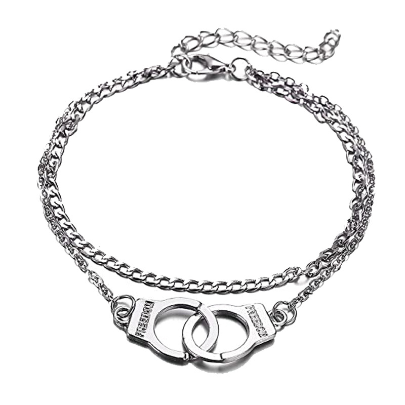 Casual Double Layer Anklet With Handcuff Details for Summer Look