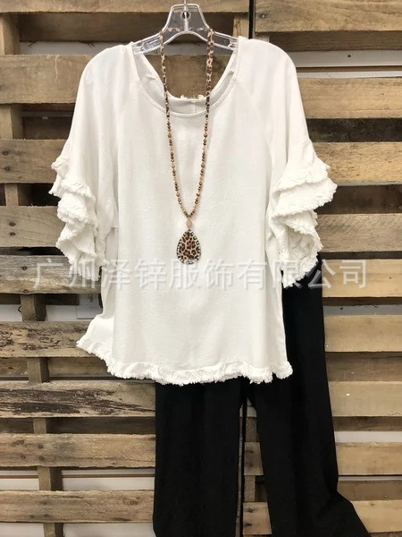 Frilly Cotton Top with Loose Sleeves for Beach Fashion