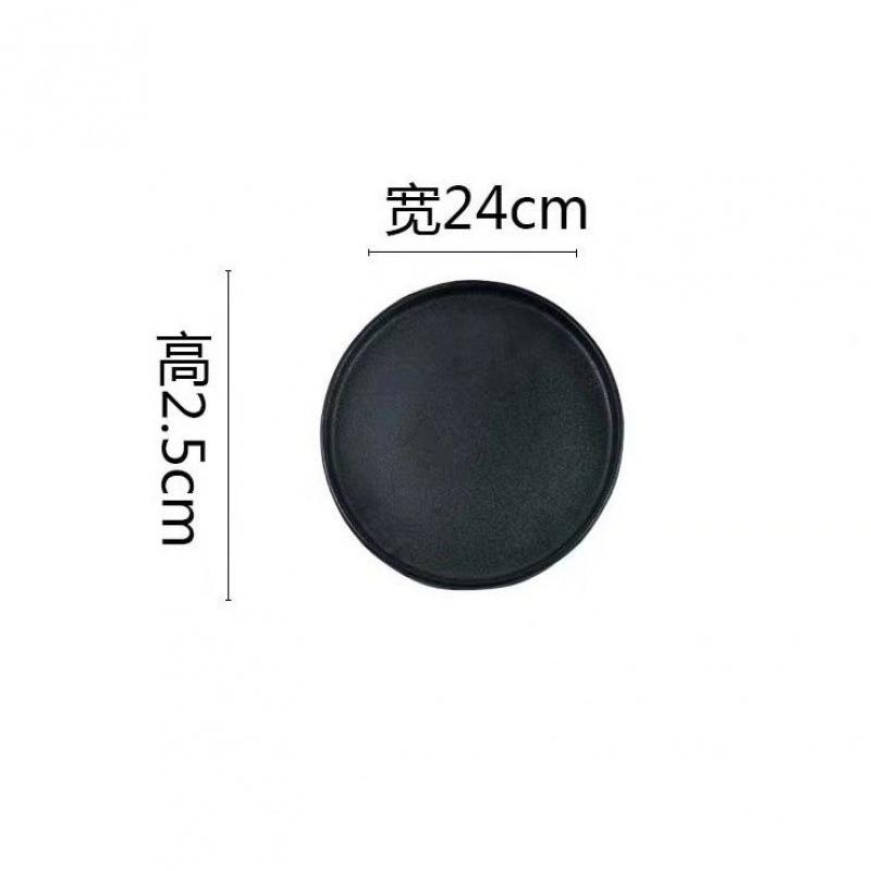 Dark-Colored Round Ceramic Plate for Modern Tableware