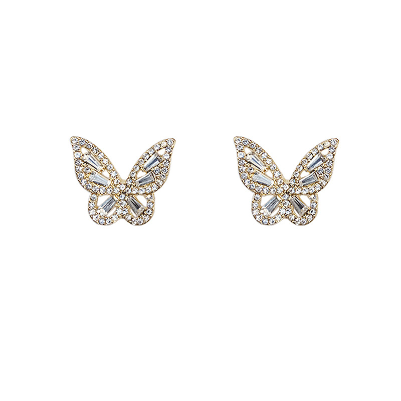 Sparkly Butterfly Alloy Earrings for Lunch Date