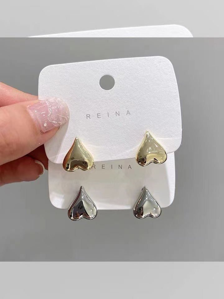 Simple Heart Shaped Earrings for Daily Casual Wear
