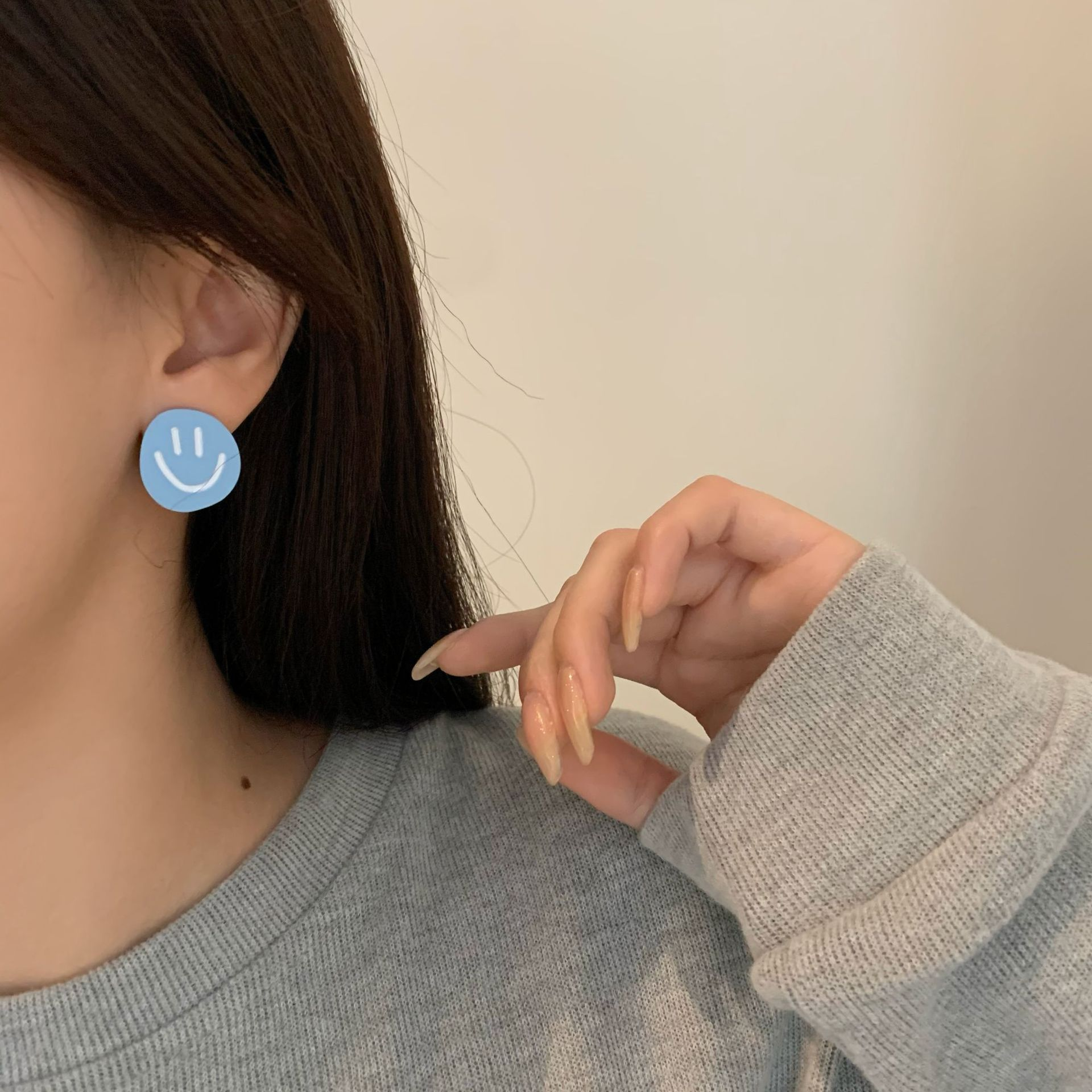 Cute Color Contrast Pastel Smiley Earrings for Casual Fashion