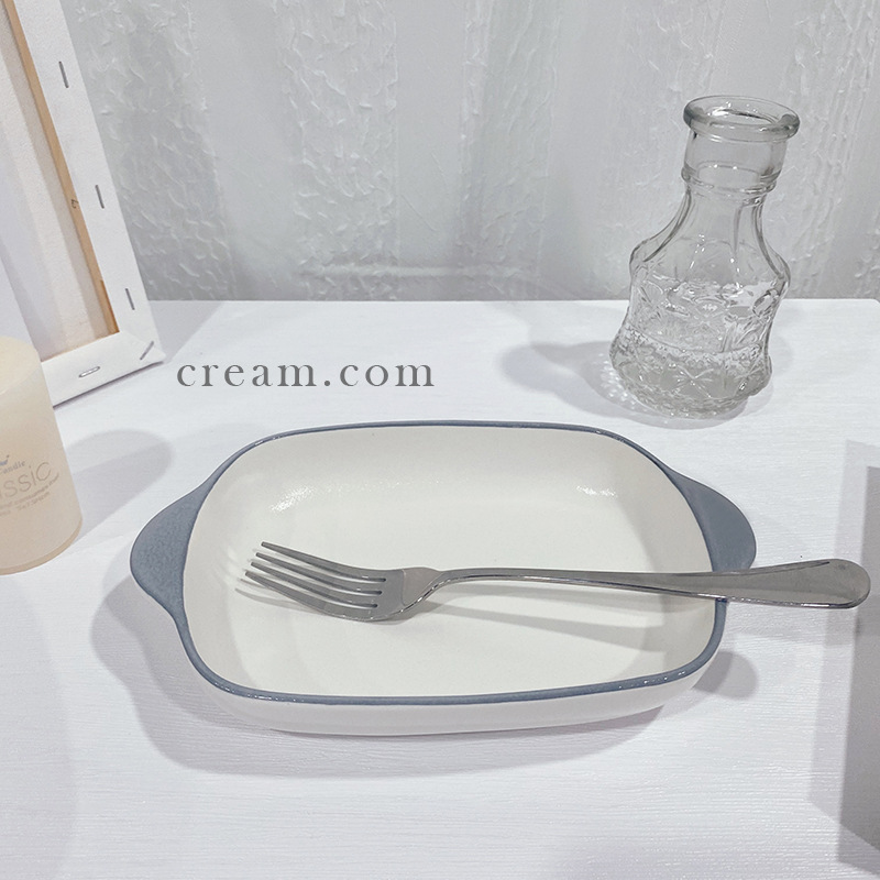 Rectangular Porcelain Bowl with Handle for Serving Dishes