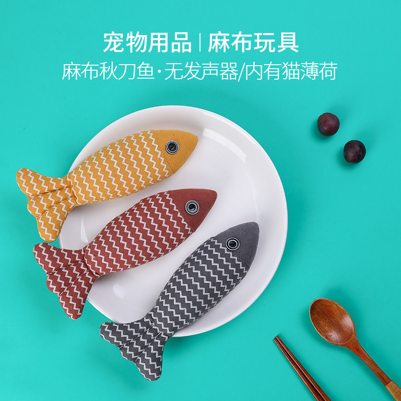 Funny Small Fish-Shaped Pillow for Cats Fun and Soft Toys