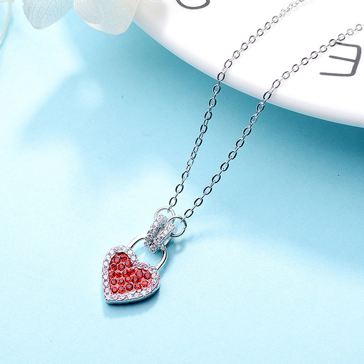 Double-Sided Love Lock Pendant Necklace for Women's Accessories