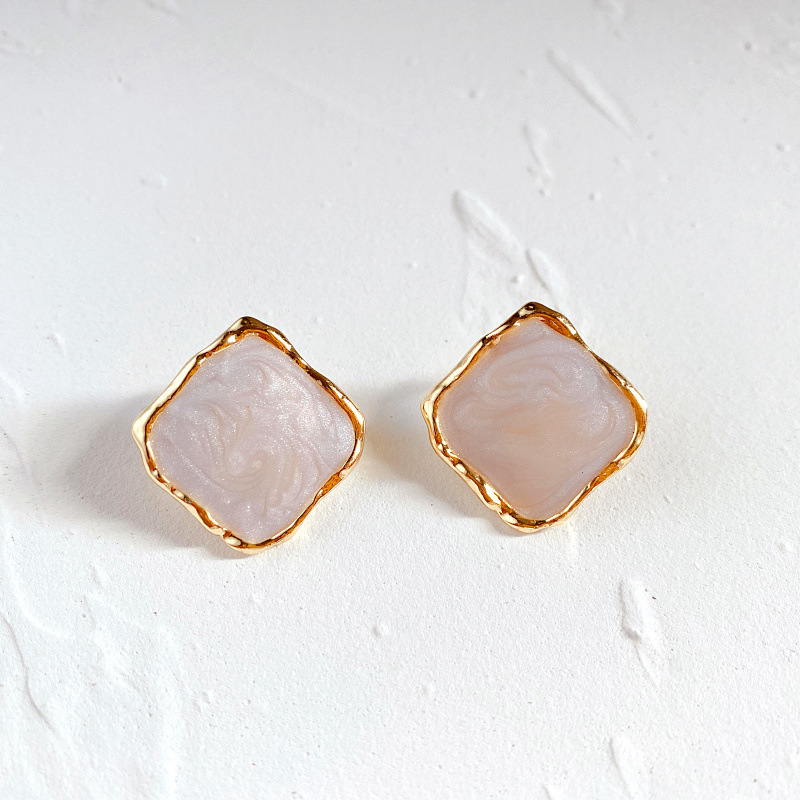 Simple Yet Mesmerizing Solid-Colored Square Stud Earrings in Various Colors for Going to Birthday Parties