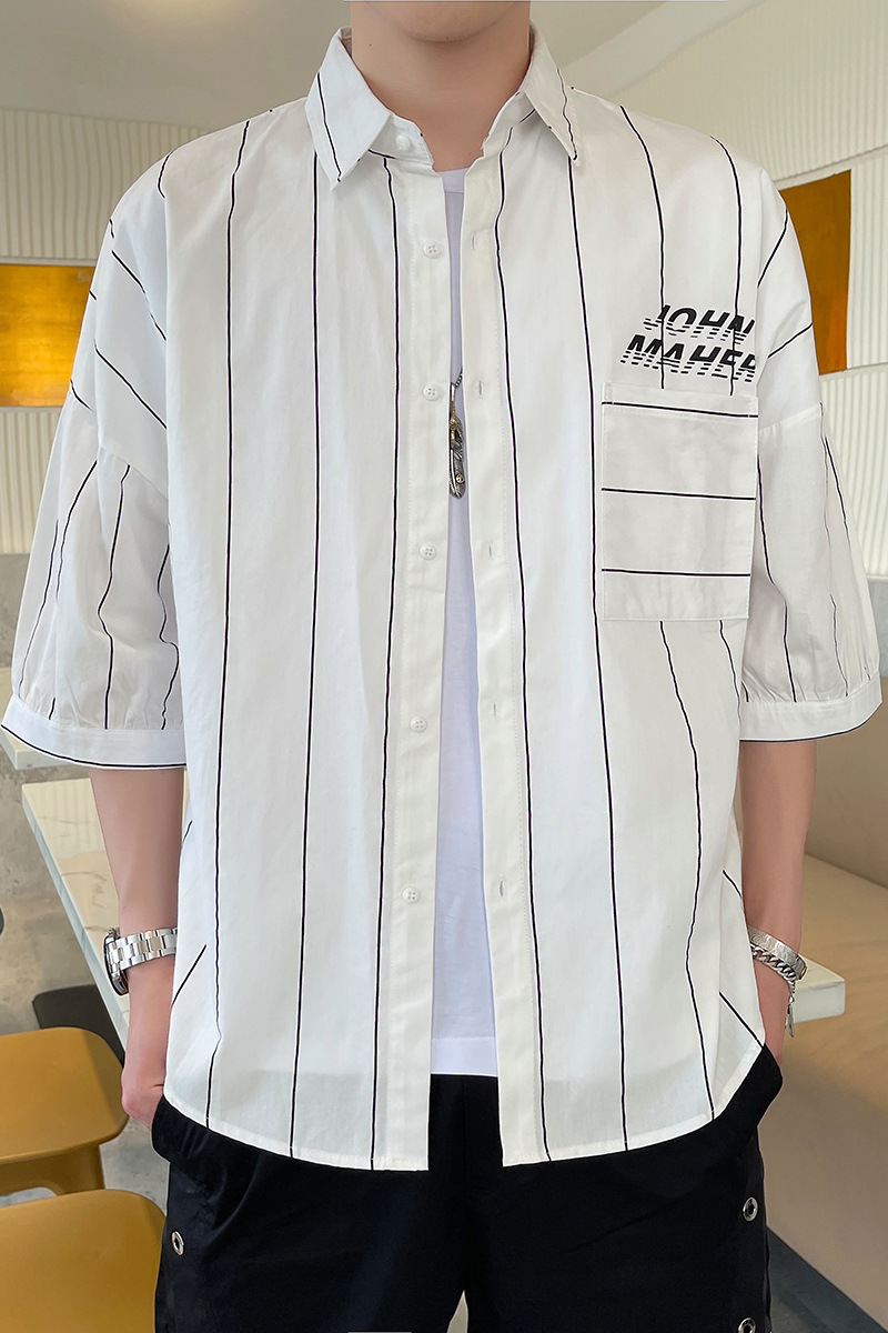 Thinly Striped Polyester Loose Type Button Up Shirt for Trendy Boyfriend Outfits