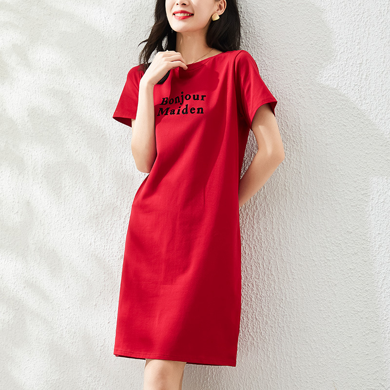 """Red """"Bonjour Maiden"""" Minimalist Dress for Daily Fashion"""