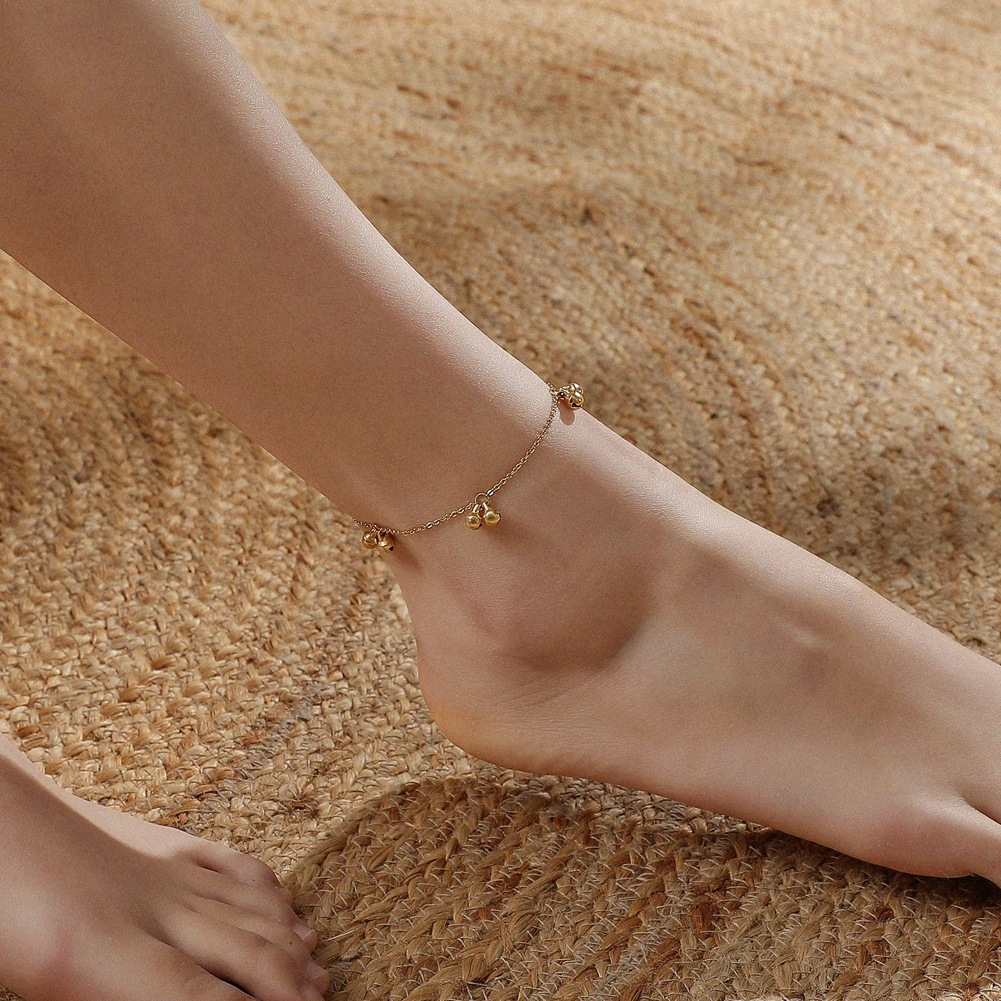 Chic Plated Stainless Chain Anklet with Mini Bells Pendant for Summer Wear