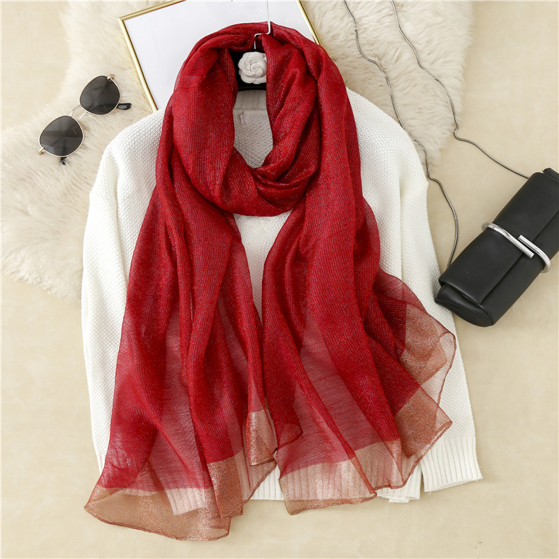 Solid Color Pastel Silken Scarf for Women's Spring and Fall Fashion