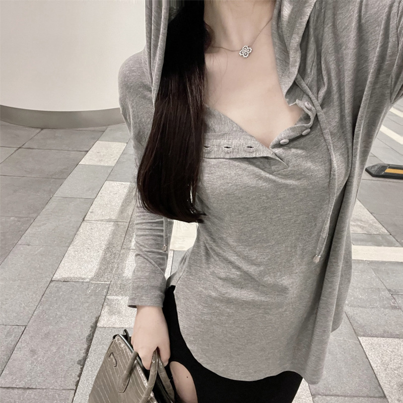 Trendy Long Sleeve Hooded Top for Spring and Summer Wear