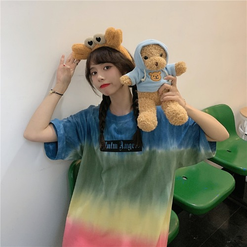 Cute Rainbow Color T-Shirt for Casual Wear at Home