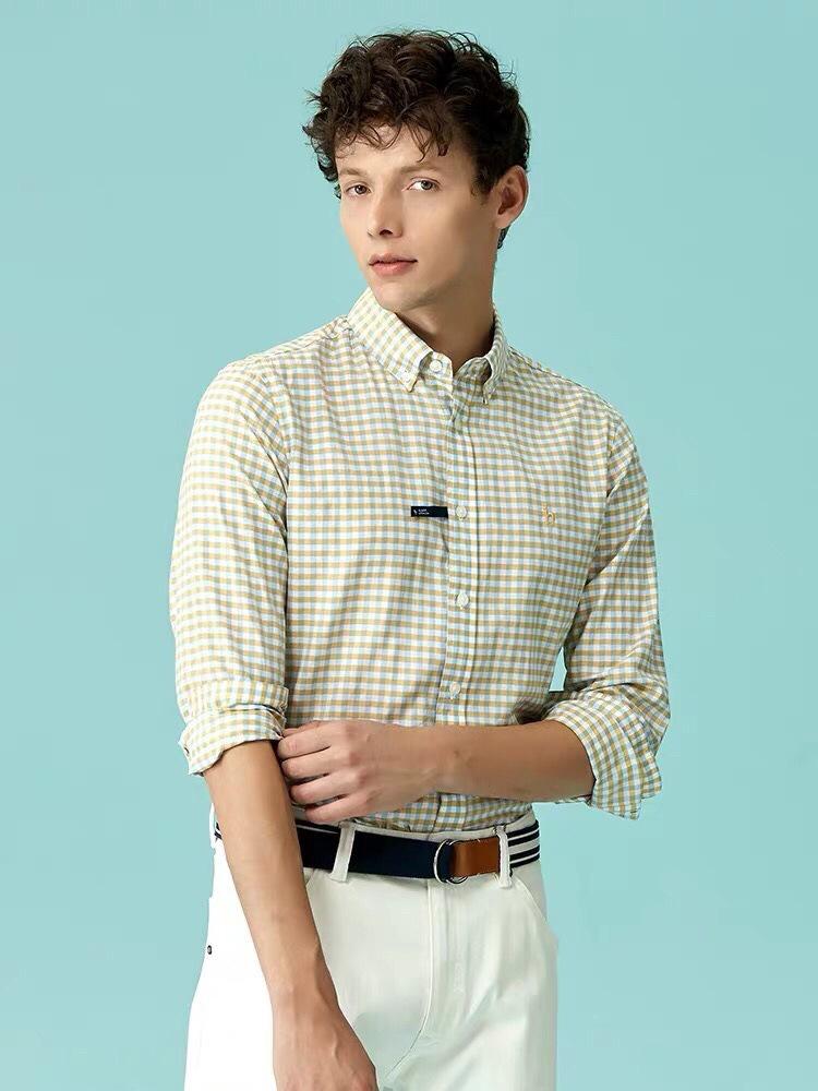 Classic Plaid Button-Down Shirt for Slack Pants