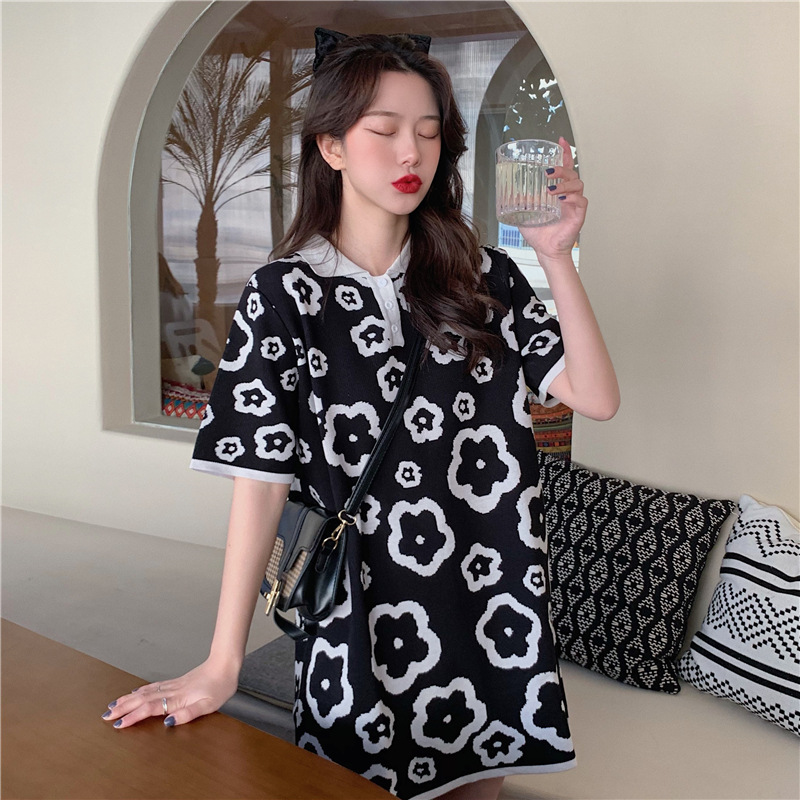 Casual Floral Knitted Doll Collar Short Sleeve Dress for Lunch Dates