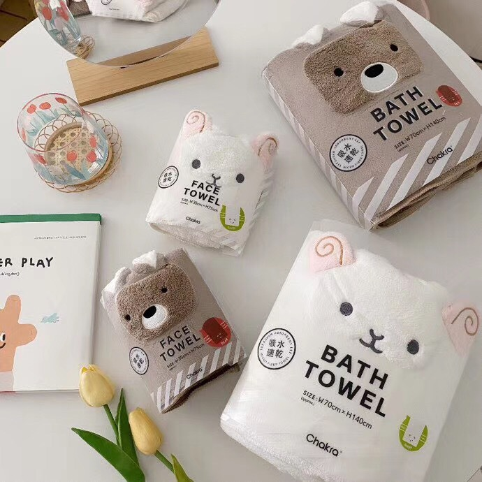 Cute Japanese Style Bath Towel for Drying After Bath