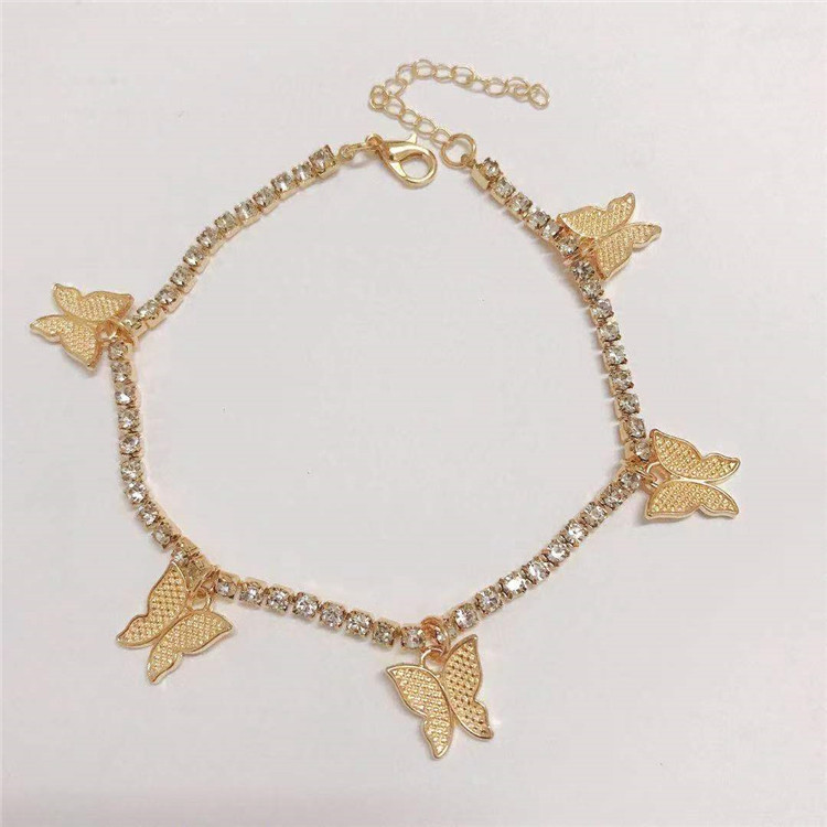 Nice Alloy Butterfly Pendant Anklet with Lobster Claw Lock for Street Fashion Outfits