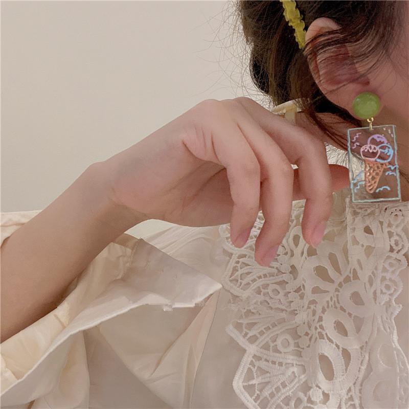 Cute Ice Cream Graffiti Stud Earrings for Chic Accessorie