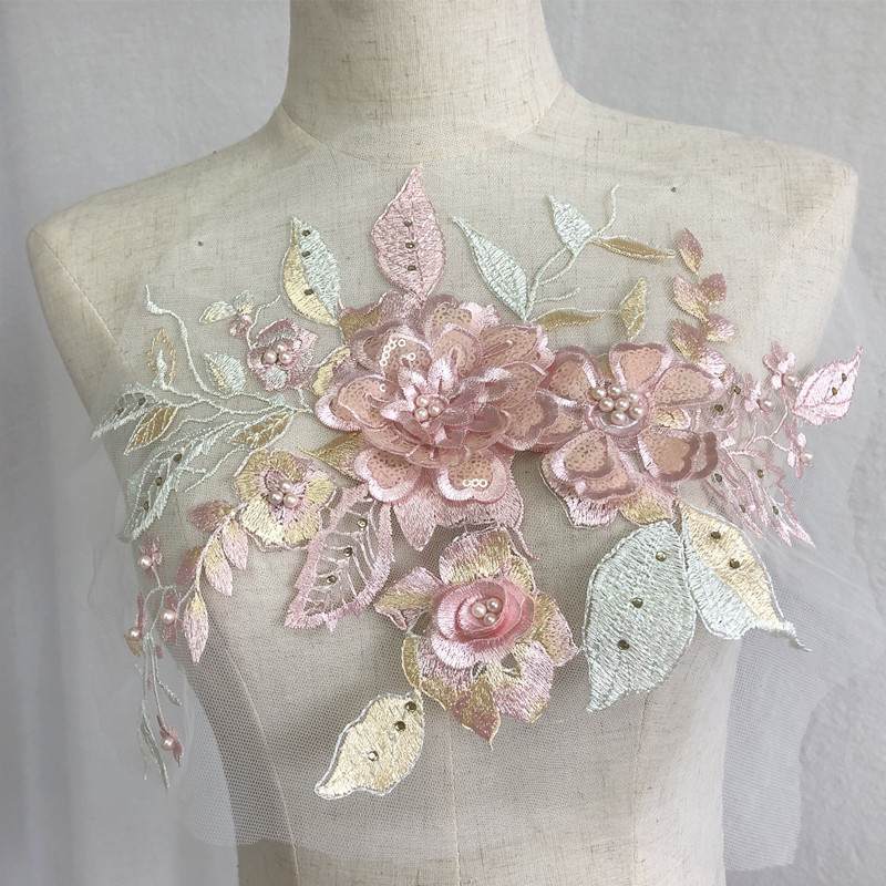 Cute Three Dimensional Floral Sequin Mesh Patch Designed Decoration for Fancy Wear
