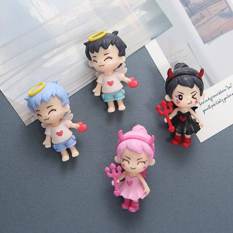 Cute Cupid and Devil Doll Fridge Magnet for Home Decoration