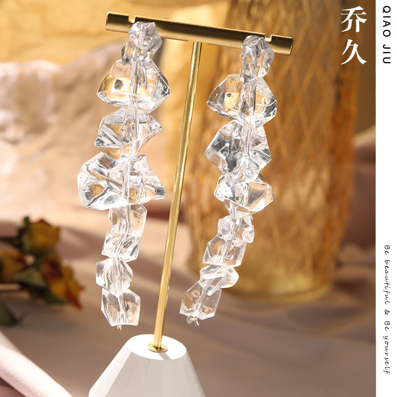 Transparent Irregular Cube Earrings for Eye-Catching Outfits