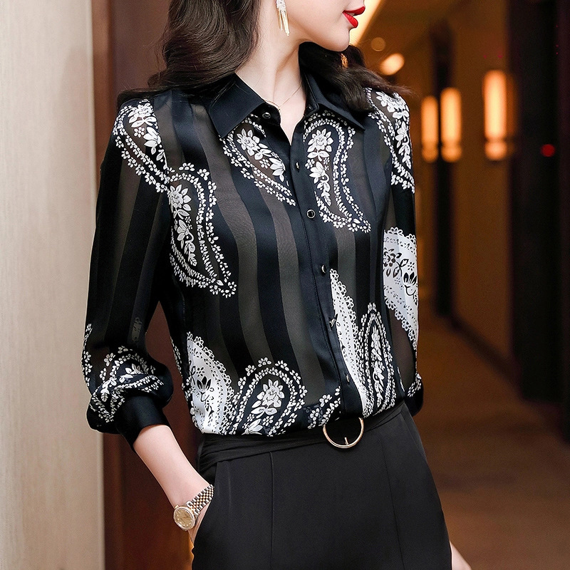 Modish Printed Button-Up Shirt for Going to Work