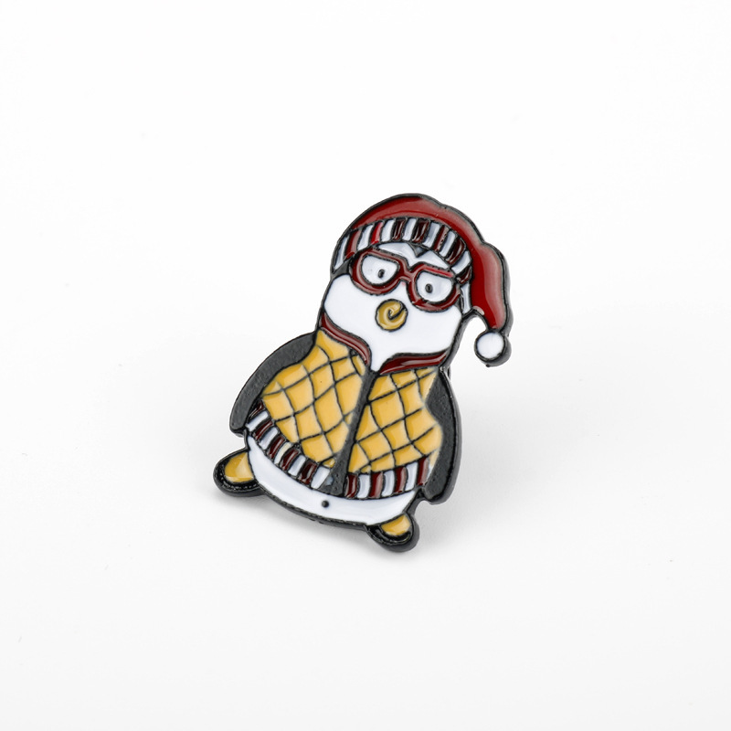 Adorable Penguin Pin with Santa Claus Hat for Accessorizing Bags and Clothing