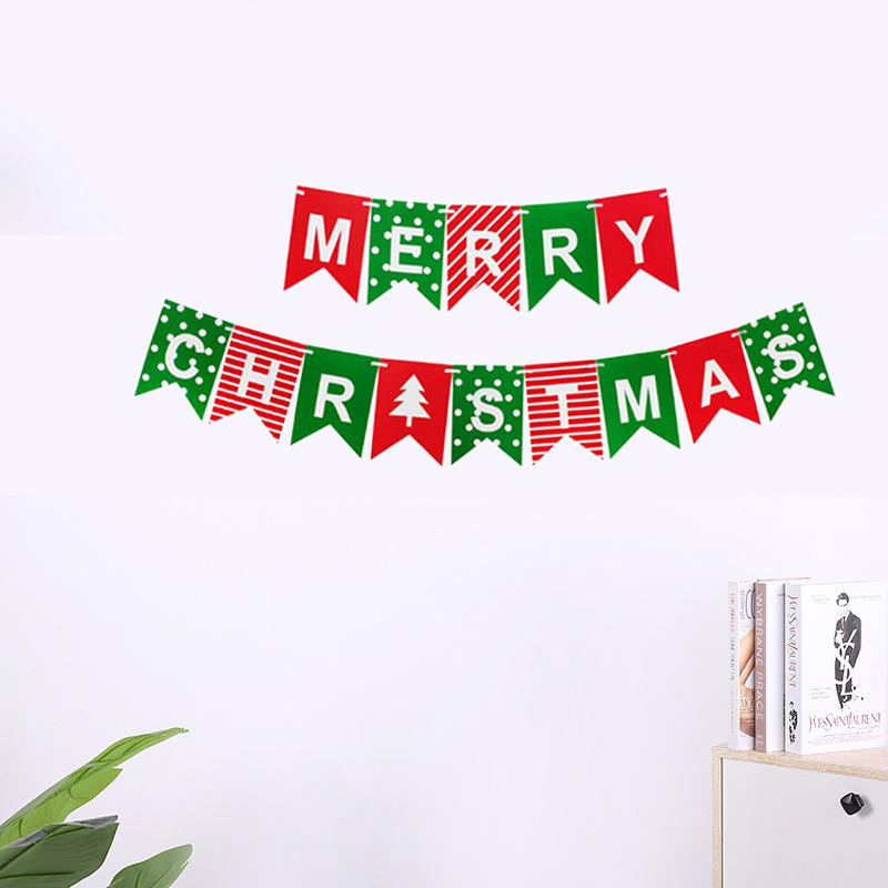 """Superb """"Merry Christmas"""" Banner Flag for Holding Parties at Home"""