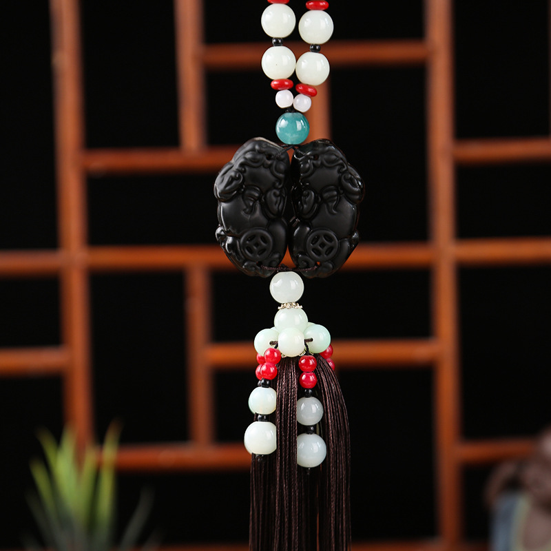 Car Rearview Mirror Charm with Tassel for Car Accessories