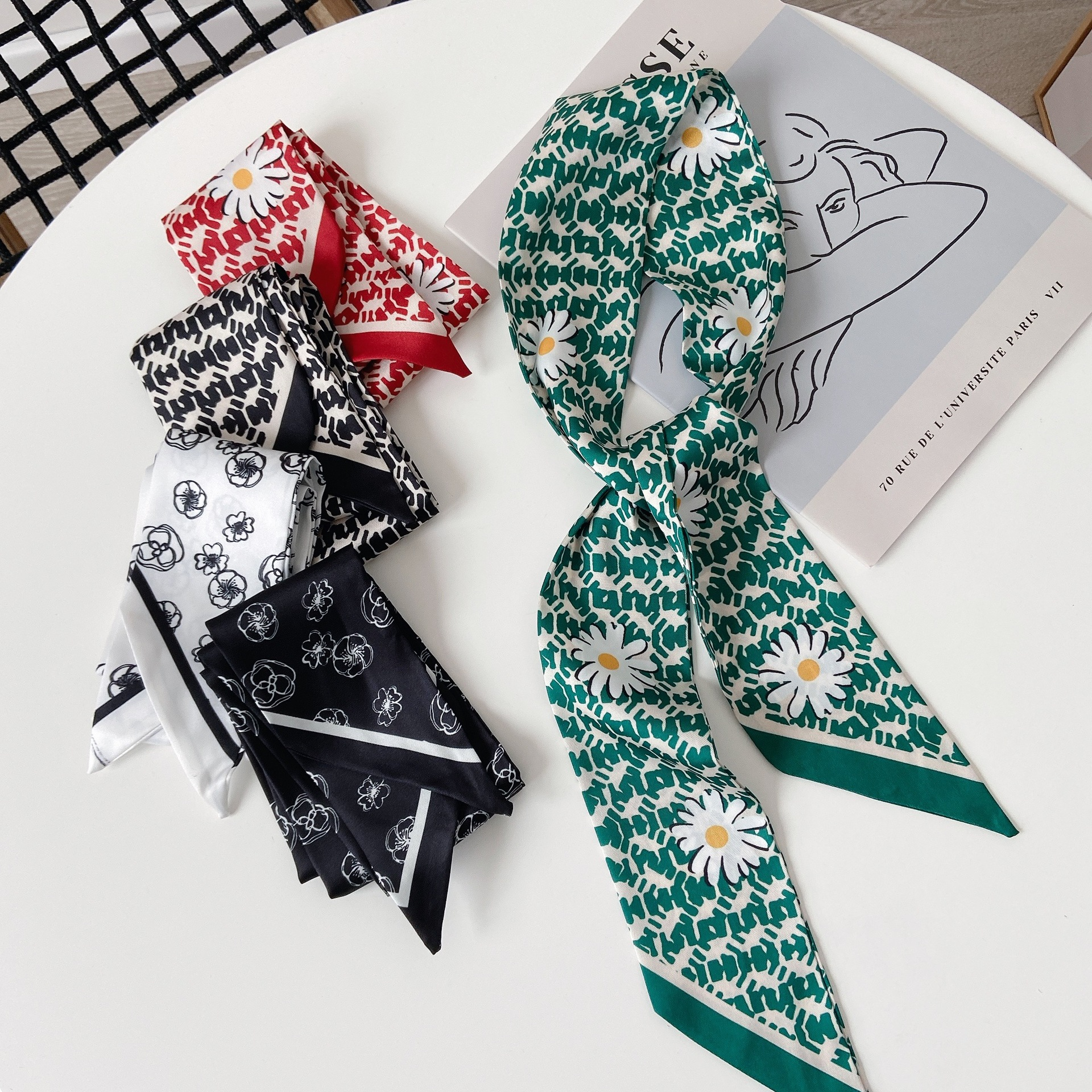 Artistic Thin and Long Scarf for Fabulous Retro Hairstyles