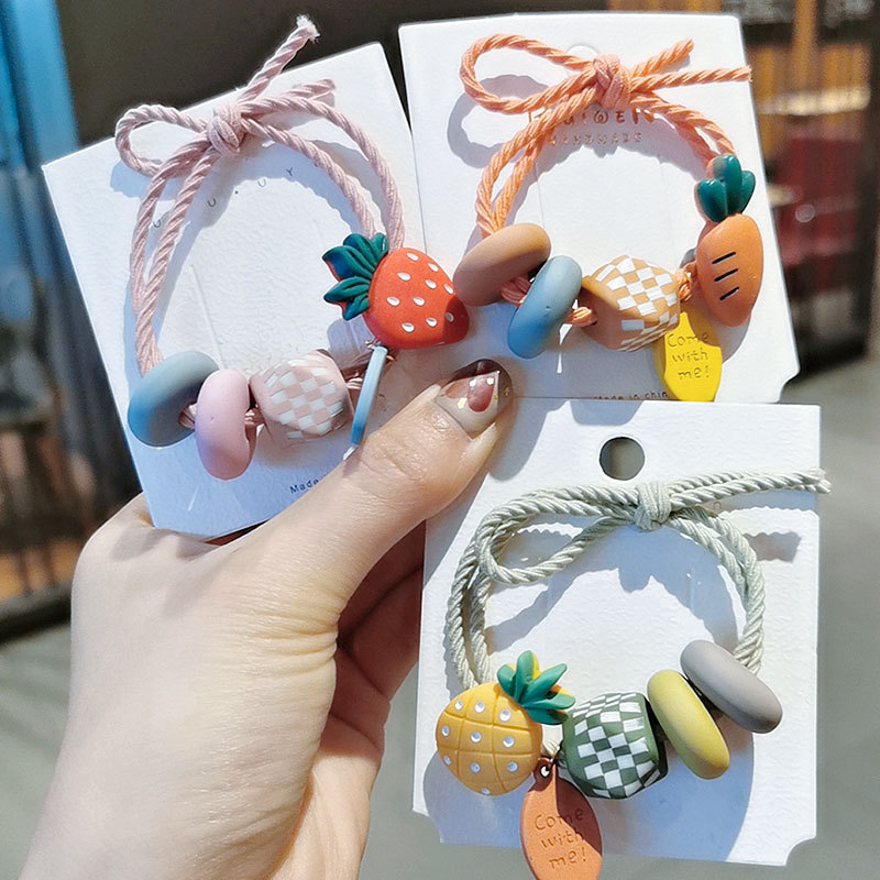 Cute And Colorful Hair Rubber Band With Fruits Details For Small Girls