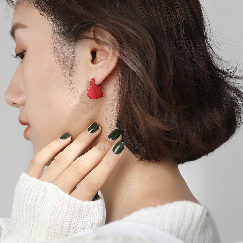 """Red Heart Shape """"Love"""" Engraved Letter Stud Earrings for Lovely Style"""